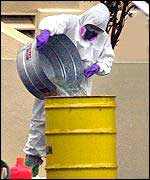Man in protective clothing pours hazardous fluid into yellow metal can