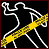 Chalk outline black background with yellow crime scene tape on top