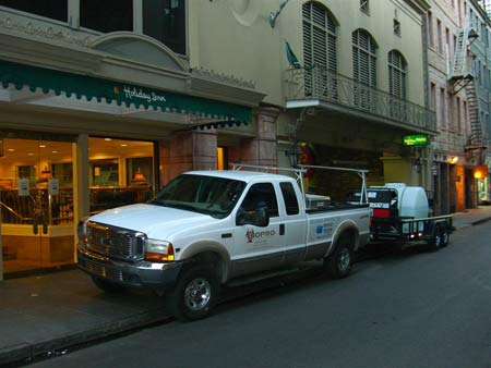 BIOPRO truck in front of Holiday Inn in New Orleans LA